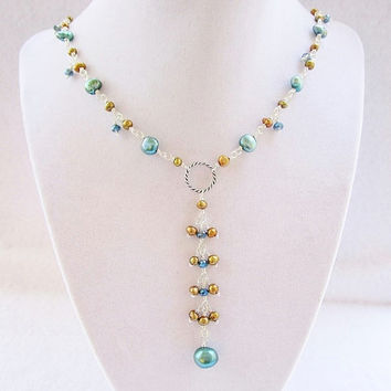 Teal & Gold Freshwater Pearl and Teal Crystal Long Silver Beaded Y Necklace