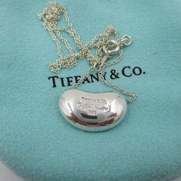 "Tiffany & Co. Elsa Peretti Sterling Silver Large Bean necklace 16"" pouch"