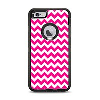 The Pink & White Chevron Pattern Apple iPhone 6 Plus Otterbox Defender Case Skin Set