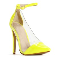 Yellow Cap Toe Vinyl Heels