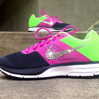 Women's Nike Air Pegasus+ 30 Running Shoes Customized with Swarovski Elements Crystal Rhinestones Pink Black Lime Green White Brand New