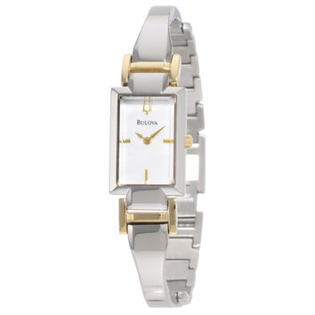 Bulova 98L149 Women's Dress MOP Dial Two Tone Bangle Bracelet Watch