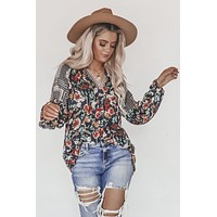 Fresh And Presh Navy Floral Aztec Blouse