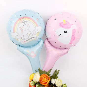 Unicorn Party Handheld Foil Balloons 20pcs Birthday Baby Shower Unicornio Party Supplies Baloon Kids Toy Gifts Air Baloes