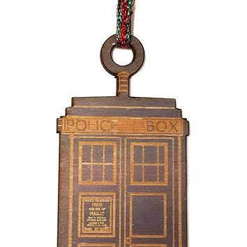 Printed Blue British Police Box Laser Engraved Wooden Christmas Tree Ornament Gift Seasonal Decoration