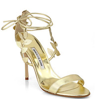 Manolo Blahnik - Bolabasan Metallic Leather Leaf Sandals
