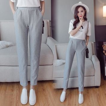 Summer autumn female fashion elastic waist casual stripes peneil pants women pants work wear trousers harem pants