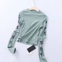 Spring and summer new women's two-sleeve print T-shirt women's sports bottoming shirt yoga fitness clothes