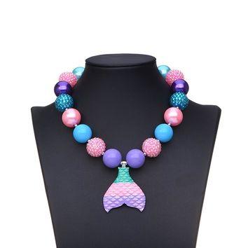 Mermaid Tail Pendant Chunky Necklace Bubblegum Necklace Toddler Birthday Gift for Kids