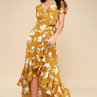 Vineyard Vacation Dark Yellow Floral Print High-Low Wrap Dress