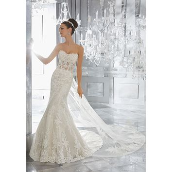 Blu by Morilee 5572 Marni Strapless Lace Fit & Flare Wedding Dress