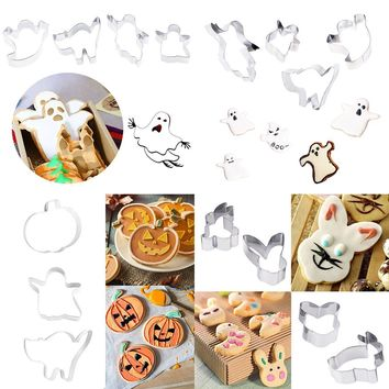 3pcs/4pcs 3D Fondant Cookie Cutters Stainless Steel Pumpkin Cat Ghost Shape Mold Cake Stencils Kitchen Bakeware Baking Tools