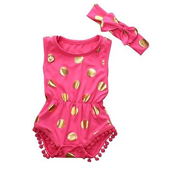 Pretty Baby Rompers Sets Newborn Baby Girl Clothes Polka Dot Romper Jumpsuit + Headbanf Children Girls Sunsuit Outfits Suits