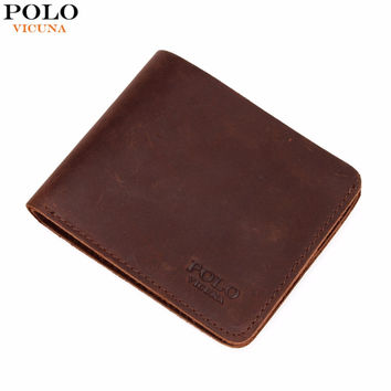 VICUNA POLO Famous Brand Men's Genuine Leather Wallet Vintage Crazy Horse Leather Man Wallet Simple Design Money Clip Wallet Man