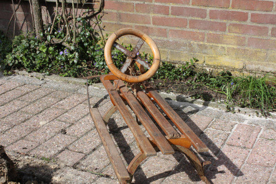 Antique Wooden / Iron Sled With Steering Wheel