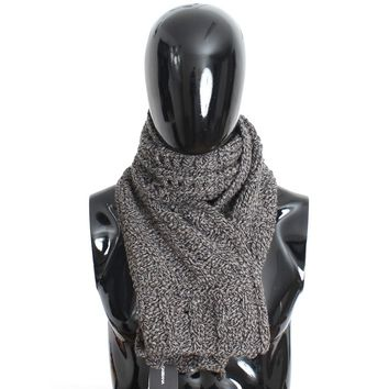Dolce & Gabbana Scarf Men's Gray Knitted Wool Wrap