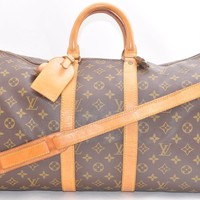 Auth Louis Vuitton Monogram Keepall Bandouliere 45 Boston Bag Old Model LV 42493