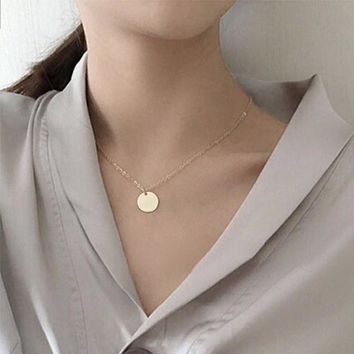 N1081 Round Coin Pendant Necklaces Women Chain Collares Fashion Jewelry OL Bijoux ras de cou