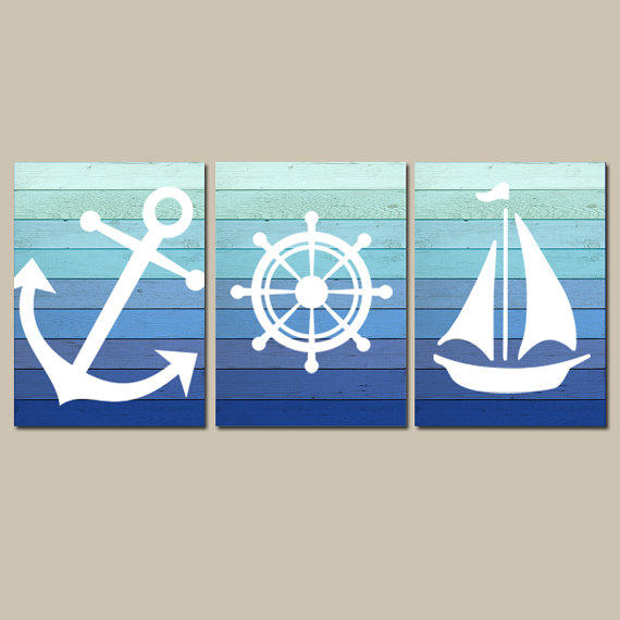 Nautical Wall Art CANVAS Or Prints Blue From TRM Design Wall