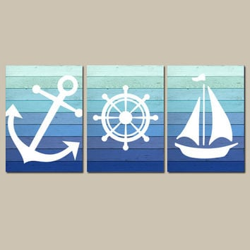 Nautical Wall Art CANVAS or Prints Blue Ombre Wood Effect Background Boy Nursery Bathroom Decor Ocean Anchor Boat Wheel Set of 3