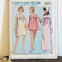 Simplicity 6757 Pattern Nightgown Pajamas Junior Teen Girl Size 11 Vintage Sewing