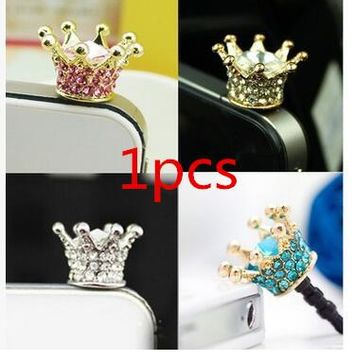 Diamond Crystal Crown phone accessories dust plug for cell phone Cellphone Charms fashion 1 pcs free shipping