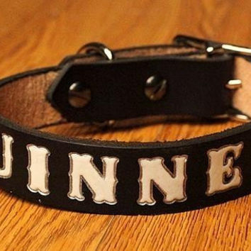 Custom Leather Personalized Name Medium DOG COLLAR 12 to 20 Inches Long