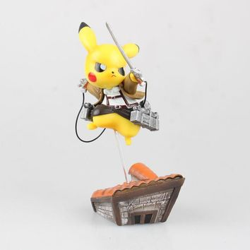Cool Attack on Titan Pikachu cosplay  Eren doll PVC 15cm box-packed japanese figurine Action figure for Kid Anime Collection 170532 AT_90_11