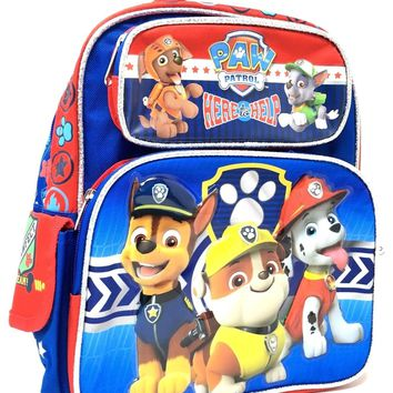 """Paw Patrol """"HERE HELP"""" Chase, Marshall, Tan 12"""" Toddler Backpack For Boys"""