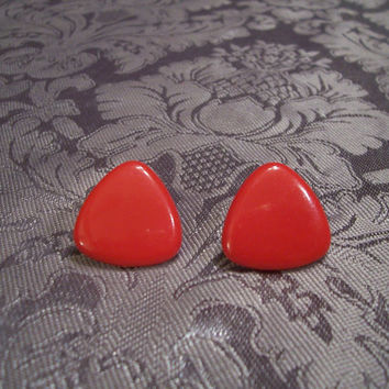 Vintage Earrings, Avon Acrylic Jewelry, Red Triangle, Red Earrings,Pierced