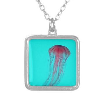 Fuschia Pink Jellyfish on Aqua Blue Green Custom Necklace