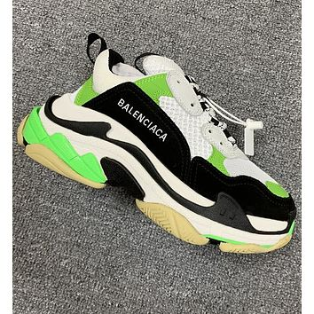 Balenciaga Trending Women Men Shoes Classic Triple Sneaker White Fluorescent green Black