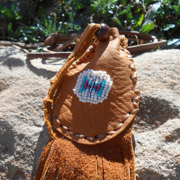 ON SALE Butterfly Beaded Medicine Bag, Small Leather Pouch, OOAK, Native American Inspired, Powwow, Handmade, Fringe Pouch, Hippie, Boho, Gy
