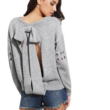 SheIn Casual Pullovers For Ladies Grey Bow Tie Open Back Round Neck Drop Shoulder Eyelet Long Sleeve Loose Sweater
