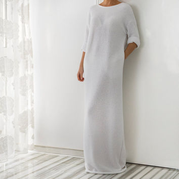 NEW SS16 White Cotton knit Backless Dress, Maxi dress, Summer Dress, Long Dress, White dress