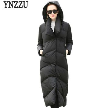 2017 New Brand Women Winter Down Jackets Extra Long Thick Warm Hooded Black Zipper Down Jackets 90% White Duck Down Coat AO247