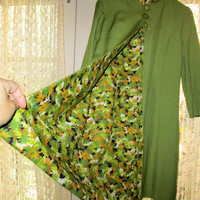 60s Mod Long Jacket / Raw Silk / Apple Green / Reversible 60s Floral Print