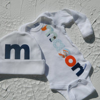 Baby Boy Onesuit and Beanie, Personalized Newborn Onesuit, Appliqued Onesuit, Take Home Outfit