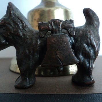 Copper Scottie Dog with Liberty Bell Statue Souvenir of Philadephia, PA Scottish Terrier Wearing Liberty Bell with Inscription Pass and Stow