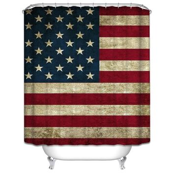 Retro American Flag Pattern Custom Shower Curtain Polyester Fabric
