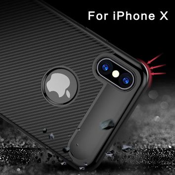 Ultra Thin Slim Case for iPhone X case iPhone 10 Phone Back Cover Carbon Fiber Soft Silicone Case for Apple iPhone X cover
