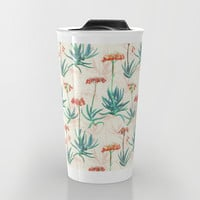 Flowering Succulent Pattern in Cream, Coral and Green Travel Mug by Micklyn