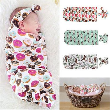 Newborn Baby Clothing Floral Candy Style Fashion Cute Organic Cotton Blanket Swaddle Sleeping Bag Sleepsack Stroller Wrap