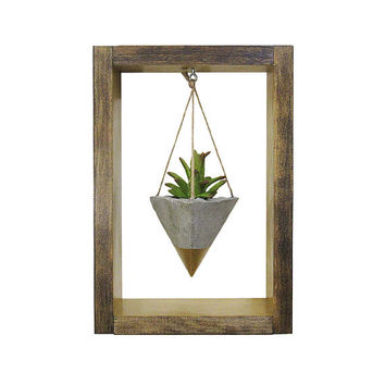 Hanging Planter, Air Planter, Wall Planter, Succulent Planter, Concrete Planter, Modern Planter, Mini Gold Planter, Shadow Box, Gift for Her