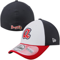 New Era Atlanta Braves White Front Diamond Era Performance Flex Hat - Navy Blue/White/Red