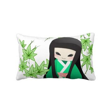 Japanese Geisha Doll - green series Throw Pillow from Zazzle.com