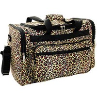 World Traveler 22-inch Leopard Print Duffle Bag, Leopard with Black Trim