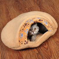 Sand Color Fleece Cat Sleeping Bag