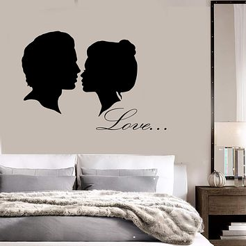 Vinyl Wall Decal Man And Woman Head Silhouette Love Romantic Stickers (2748ig)