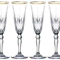 Sienna Collection Crystal Flute Glass with Gold Trim, Set of 4